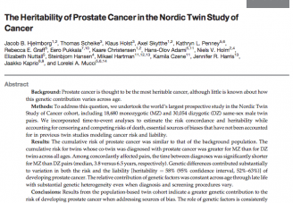 "Prostate Cancer Manuscript Published - ""The Heritability of Prostate Cancer in NorTwinCan"""